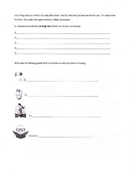 Spanish Worksheet on tener + que + infinitive