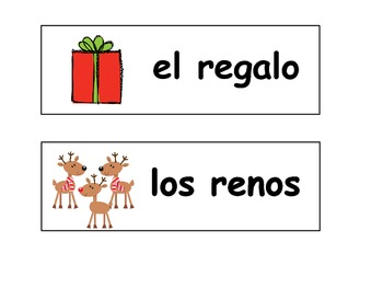 Spanish and English Christmas Words for the Word Wall