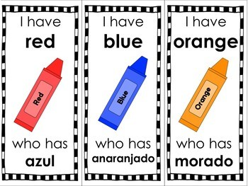 "Spanish and English Color Words ""I Have"" Game"