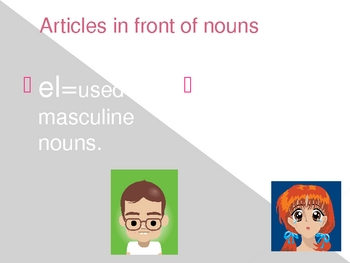 Spanish masculine and feminine noun powerpoint for guided notes