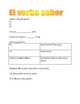 Spanish verb saber graphic organizer