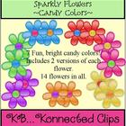 Sparkly Flowers - Candy Colors - Commercial Use