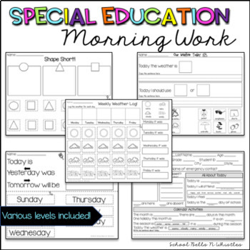 Special Education Daily Skills Practice/ Morning Work