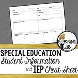 Special Education Student Info & IEP Cheat Sheet