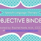 Speech-Language Therapy Objective Binder