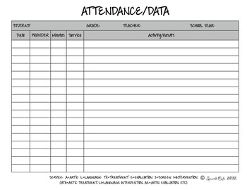 Speech Therapy Attendance/Data Log