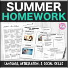 Speech Therapy Summer Homework Packet: Articulation, Langu