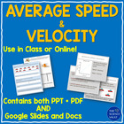 Speed, Average Speed, Velocity Powerpoint, Lab &amp; 4 Worksheets