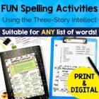 Spelling Activities  A Learning Center Using The Three-
