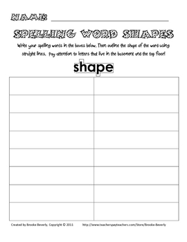Spelling Assignment for Any List- Word Shapes