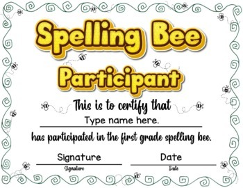 Spelling Bee Award Certificates