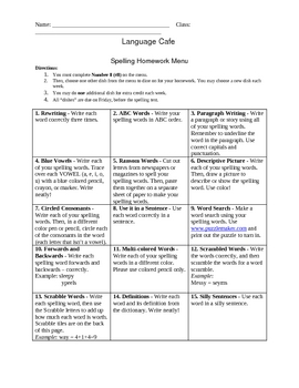 Spelling Homework Activity Menu