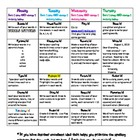 Spelling Homework Menu of Fun Activities