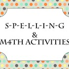 Spelling &amp; Math Activities