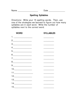 Spelling Syllables Learning Center Activity