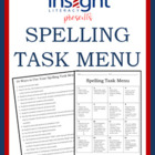 Spelling Task Menu with 16 Spelling Activities