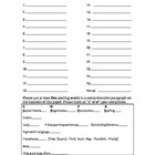 Spelling Test Form with Paragraph Writing