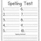 Spelling Test Template (10 words + spelling sentence!)
