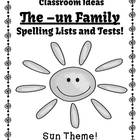 Spelling The -un Family Word Work Lists & Tests