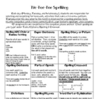 Spelling Tic-Tac-Toe Daily Activities