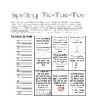 Spelling Tic Tac Toe Weekly Chart