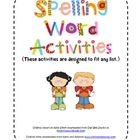 Spelling Word Activities and Choice Boards