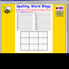 Spelling Word Bingo w/ SMARTBOARD display