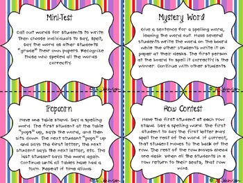 Spelling Word Game Cards