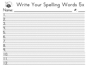 Spelling Words 5x - upper grades