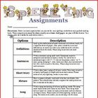 Spelling assignment options for the week: word study ideas
