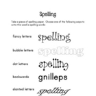 Spelling list practice - crazy handwriting