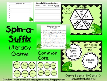 Spin-A-Suffix-Literacy/Language Center-Folder Game-Common Core