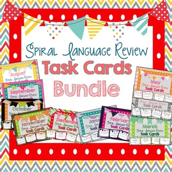Spiral Language Review Task Cards - Bundle