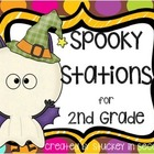 Spooky Stations for 2nd Grade (6 Math Centers)
