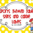 Sports Themed Table Signs and Caddie Labels {FREEBIE}