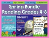 Spring Bundle for Reading Grades 4-8 *NO PREP Common Core*