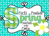 Spring Facts Freebie: Math Facts, Springtime Facts, and Wr