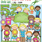 Spring Kids Clipart - Color and Line Art - Graphics From the Pond
