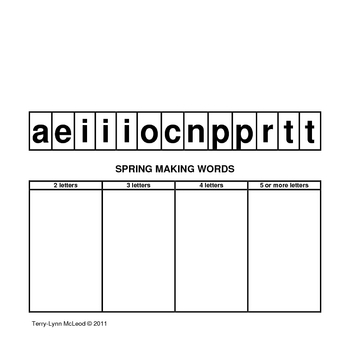 Spring Making Words Lesson