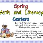 Spring Math and Literacy Centers- Kindergarten