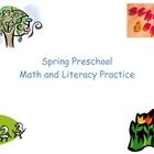 Spring Math and Literacy Practice Pages for Preschool