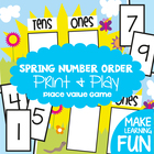 Spring Number Order - Math Center Game - Place Value