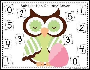 Spring Owls Roll & Cover Addition & Subtraction Games!