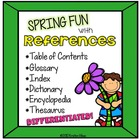 References: Contents, Glossary, Index, Thesaurus, Dictiona