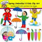 Spring Umbrellas and Kids Clip Art