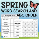 Spring Word Search & ABC Order Cut & Paste Freebie