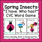 Spring/Ladybug I have...Who has..? CVC Word Game