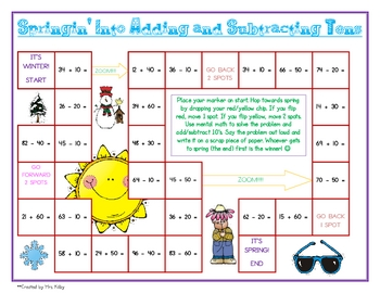 Springin' Into Adding and Subtracting Tens - Free Game