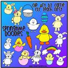 Springtime Doodles Clip Art Combo (BW and Colored PNG files)