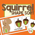 Squirrel and Acorn Shape Sort for Fall Preschool and Early